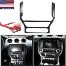 For Ford Mustang 2015-2020 Carbon Fiber Multi-media Console Decor Interior Trim