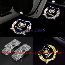 2x LED Gold Logo Door Courtesy Laser Shadow Lights For Cadillac CTS SRX ATS XTS