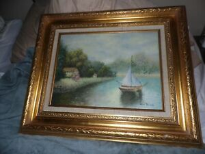 Impressionist Artist  DU BOIS Henri? Boat on Lake Painting Signed and framed