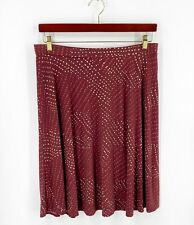 George Skirt Size Large (12/14) Maroon Red Polka Dot Swirls Stretch Knit Womens