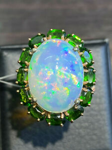 NATURAL FIRE OPAL19X14 CHROME DIOPSIDE PINK DIAMOND CUT STERLING SILVER925 RING