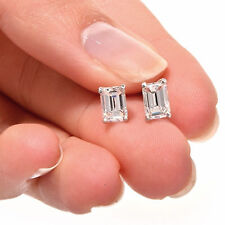 1.15 ct Simulated Emerald Cut Solitaire Stud Earrings 14k White Gold Screw Back
