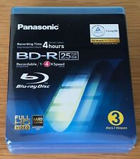 More details for panasonic blu ray bd-r blank disc recordable 25gb - 3 pack new & sealed