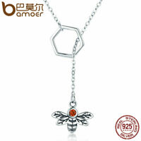 BAMOER Women Necklace Real S925 Sterling Silver Little bee Pendant & CZ Jewelry