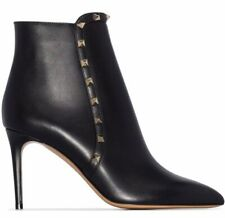 Valentino Rockstud 85 Black Leather Stud Heel Zip Short Ankle Bootie Boot 39.5