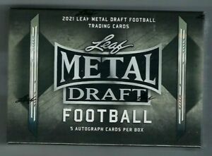 2021 Leaf Metal Draft Football Factory Sealed Hobby Box - FROM A SEALED CASE