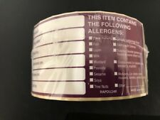* Allergen Labels Food Allergy Warning Labels 50mm x 100mm Purple (PGL0951)