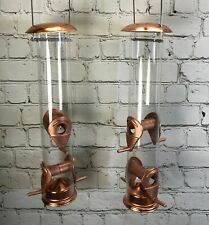 More details for copper style hanging bird seed feeder with 4 feeding ports wild birds (set of 2)