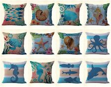 Us Seller, 10pcs cushion covers turtle fish sea shells pillow decorative for sof