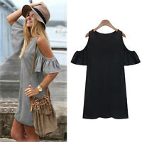 Summer Plus Size Womens Casual Off Shoulder Frill Ladies Short Mini Shirt Dress