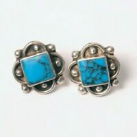 Vintage Mexico Signed TD-73 Turquoise Sterling Silver Post Earrings