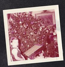 Vintage Photograph Little Girl Desk Christmas Tree & Retro Television Set TV