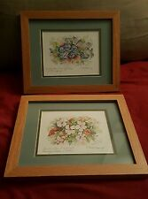 2 Carole Holding Watercolor Painting Signed Matching Framed Bermuda Flowers