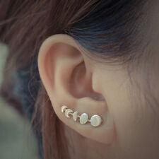 Cute Star and Moon Ear Stud Earrings Women's Tiny Silver Plated Jewelry SN