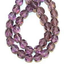 """CZ3141 Amethyst Purple 6mm Fire-Polished Faceted Round Czech Glass Beads 16"""""""