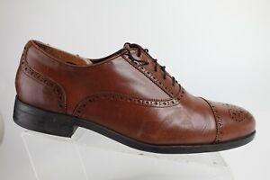 SAKS FIFTH AVENUE Cap-Toe Brown Sz 11 M Men Brogued Leather Oxfords