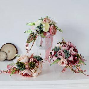 Romantic Artificial Peony Wedding Bouquet Flower Bridal Bridesmaid Flower Girls