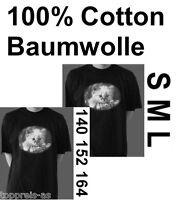 KATZEN T-SHIRT KATZE CAT RETRO S M L SCHWARZ WEIß 100% Baumwolle 140 152 164