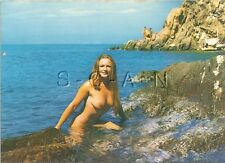 Org 1960s French Nude Pinup PC- Naturisme- Ile Du Levant- Blond- Endowed- Ocean