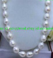 HUGE 12-13 MM NATURAL WHITE freshwater BAROQUE PEARL NECKLACE 18'' AAA++