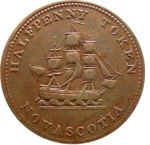 Canada Nova Scotia Half Penny Token 1815 Sailing Ship Schiff