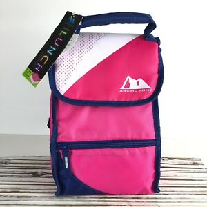 Arctic Zone PINK Insulated Lunch Bag Tote Compartments w Plastic Food Container