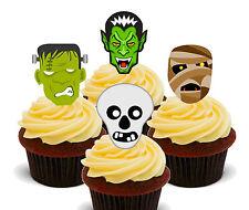 Halloween Monstruo Mix-Copa Cake Toppers comestible, decoraciones de hadas Bollo levantado