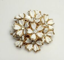 SWEET Vintage White Lucite Celluloid Rhinestone FLOWER Brooch/Pin- ESTATE