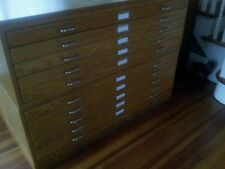 Oak Charrette Flat Files - 2 Five Drawer Sections, Base and Top