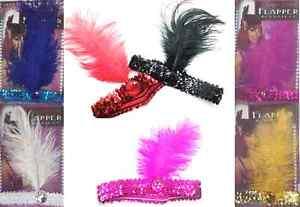Ladies 20s Sequin Charleston Feather Headband Flapper Fancy Dress Accessories