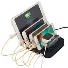 5-Port USB Charger Charging Station ღ for Multiple Phones Organizer Stand Holder