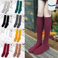Women Girl Cotton Long Sock Soild Thigh High Knit Socks Sexy School Stockings