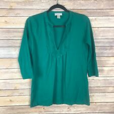 LOFT Womens Top Cotton Modal Stretch Knit Pintuck Tee Semi Fitted V Neck Green S