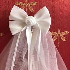 First Communion/Flower Girl  White Satin Bow with Ribbon Rose w/Sewn Edge Veil
