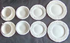 10 Piece Crown Ducal England White Florentine Salad Desert Plate Bowl Cup Saucer