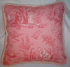 Cottage French Country Toile Pink Ivory Paris Pillow Cushion