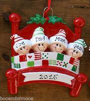 Personalised Family Christmas/Xmas Tree Decoration - Bed  2,3,4,5 single parent