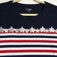 Kim Rogers Women's Short Sleeve Graphic T Shirt 2X Plus Red White Blue Stripes