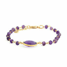 Amethyst 14k Yellow Gold Over 925 Sterling Silver Beaded Chain Bracelet Gift 7""
