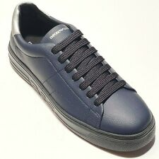 NEW Armani Logo 8 41 Men's Fashion Leather Sneakers Sport Tennis Shoes Navy Blue