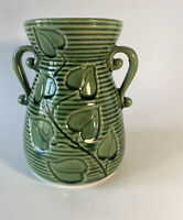 """VINTAGE USA SHAWNEE GREEN IVY RING VASE DOUBLE HANDLED  #805 6"""" tall"""