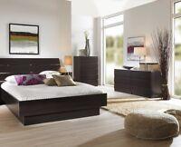 Brown 3 Piece Queen Bed Furniture Set Dorm Bedroom Home Living Decor 2-Dressers