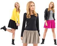 Kleid Tunika Mini-Kleid mit 2 Farbig Top Gr. 36 38 40 S M L, M138