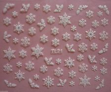 Christmas White Glitter Snowflakes Holly Nail Art Stickers Decals Transfers T21W