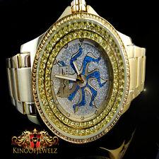 MEN REAL DIAMOND KING MASTER JOJINO JOJO JAPAN MOVEMENT GOLD FINISH CUSTOM WATCH