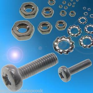 M2 M2.5 M3 Pan Head Pozidriv Zinc Plated Steel Bolts Nuts Washers RC Models