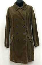 Merona Womens Corduroy Trench Coat Green Double Breasted Jacket Fall Size Small