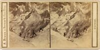 Suisse Ghiacciaio Da Grindelwald c1865 Foto A. Braun Stereo Vintage Albumina