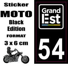 Sticker style Immatriculation Plaque MOTO black NOIR Département Grand Est 54
