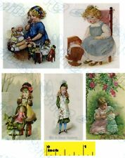 Dollshouse Miniature Children Playing with China Dolls Print Set - Cdhm 1:12
